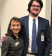 Jackson State graduate Jared Page and JSCC President Dr. Alana Hamilton at the Nashville Legislative Plaza earlier this year.