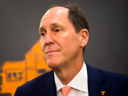 University of Tennessee Board Chairman John Compton speaks with the media following a Board of Trustees meeting held at UT in Knoxville on Friday, May 3, 2019.