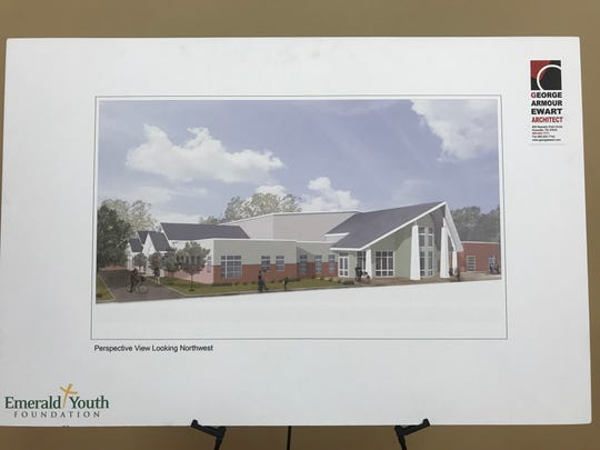 An artist's rendering shows the community multipurpose center, including a health clinic, now under construction and set to open in fall.