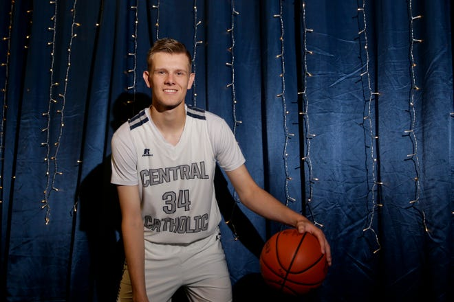 Carson Barrett poses for a photo, Friday, May 3, 2019 at Central Catholic High School in Lafayette. Barrett is the Journal & Courier Small School boys basketball Player of the Year