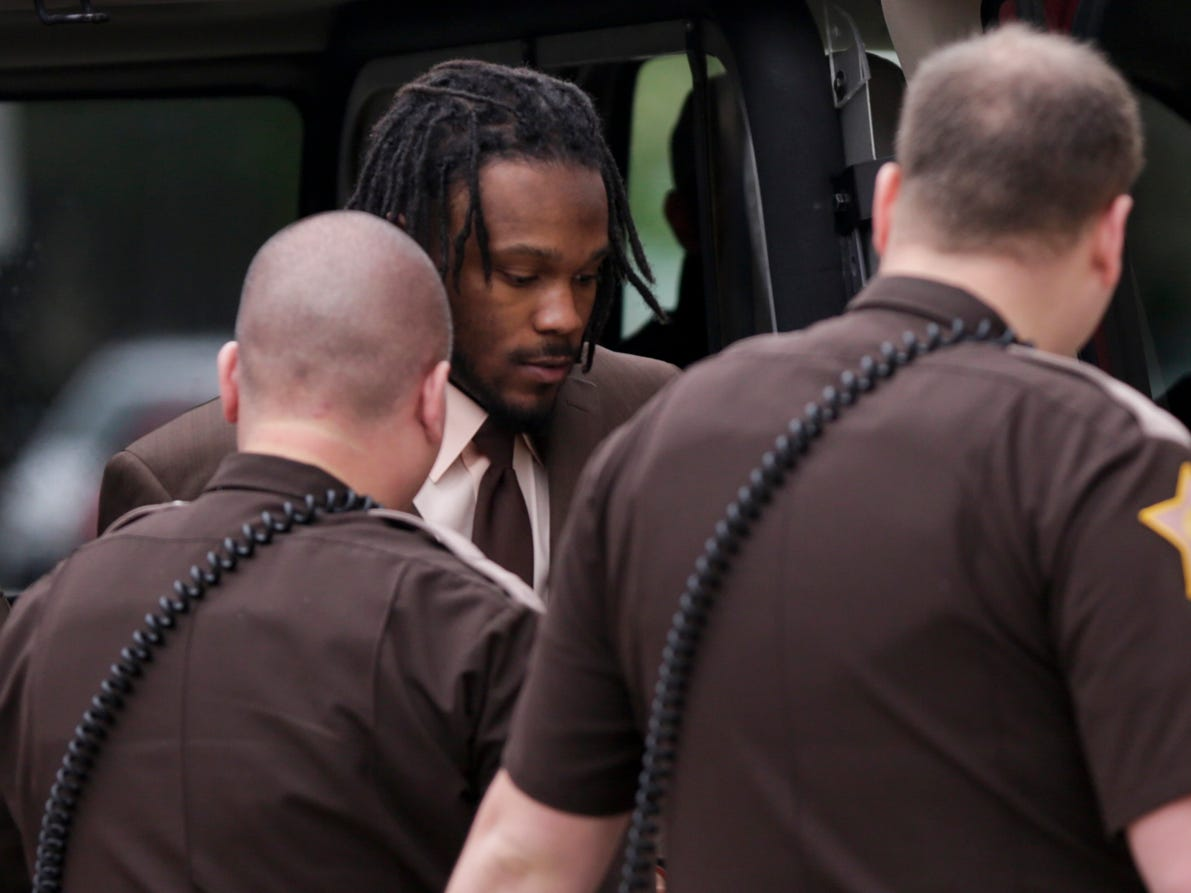 Deshay Hackner is escorted into the Tippecanoe County Courthouse by sheriff's deputies to appear before Superior Court 1 Judge Randy Williams for sentencing after Hackner was found quilty for the Oct. 2017 killings of Dewone Broomfield and Mary Woodruff, Friday, May 3, 2019 in Lafayette.
