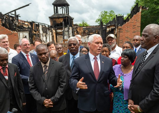 Vice President Mike Pence visits with members of the congregation at Mt. Pleasant Baptist Church. Friday, May 3, 2019.