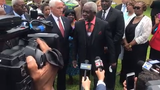 Leaders of the churches burned by arson in St. Landry Parish speak with Vice President Mike Pence on Friday, May 3, 2019.