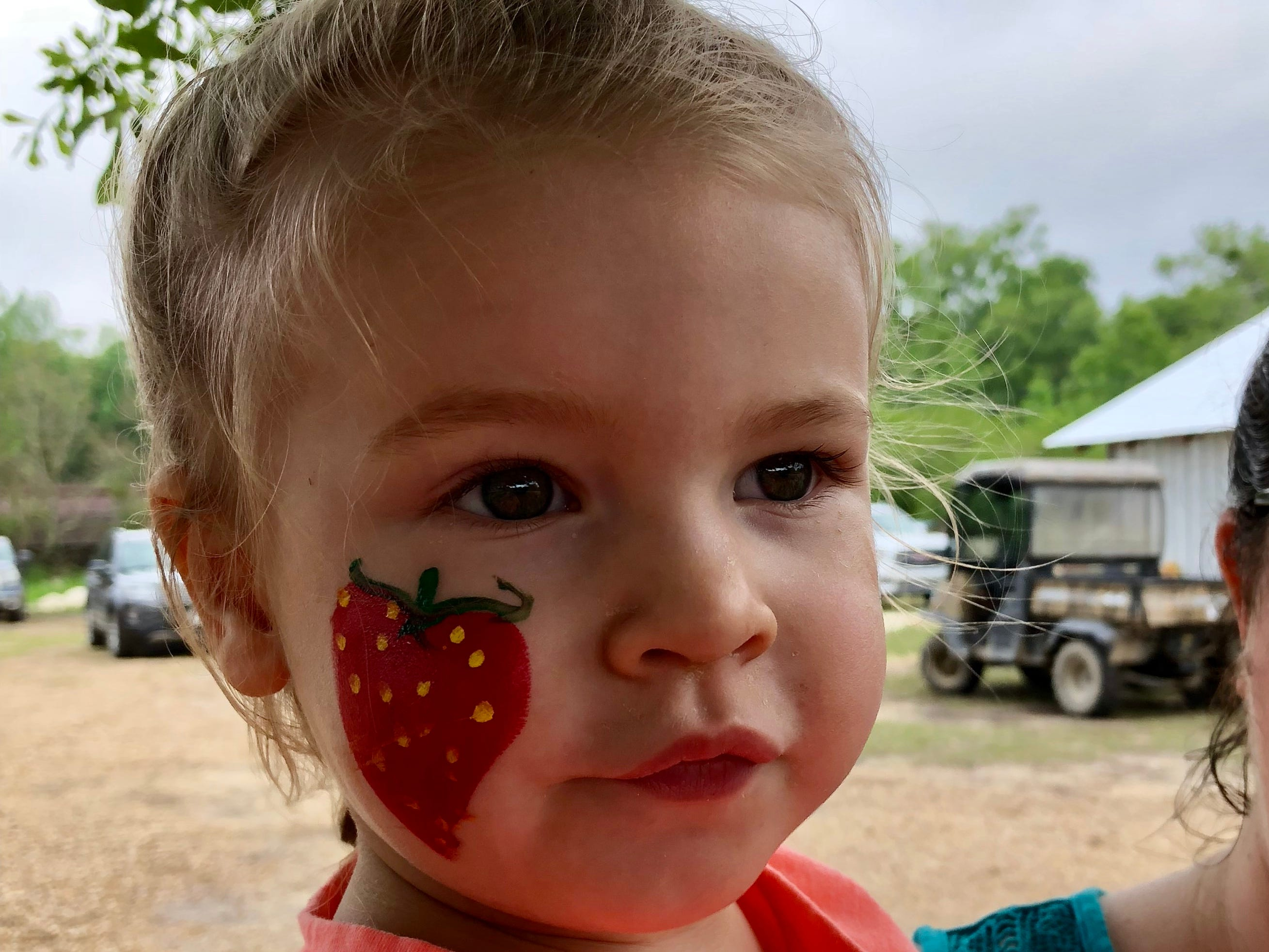 Marie Guidry has a strawberry painted on her face April 6 at Mrs. Heather's Strawberry Farm in Albany, Louisiana.