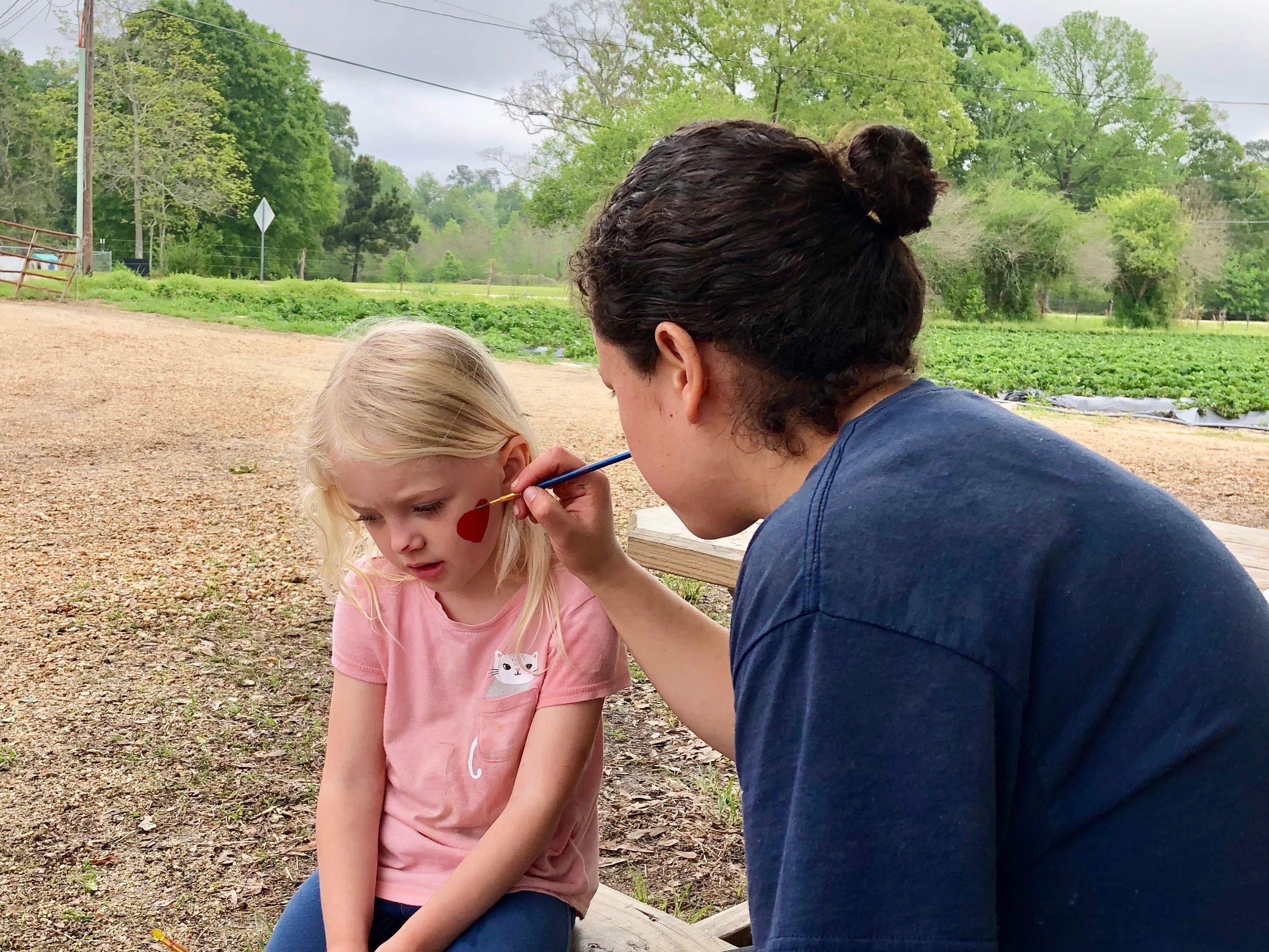 Claire Ivy gets a strawberry painted on her face April 6 at Mrs. Heather's Strawberry Farm in Albany, Louisiana.