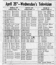 The TV schedule from the April 25, 1956 Lancaster Eagle-Gazette.