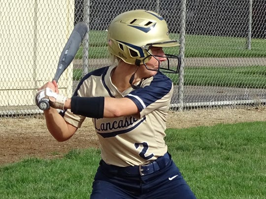 Lancaster senior Hayli Bartlett hits a single in the fourth inning during the Lady Gales' 10-0 win over Pickerington North on Thursday.