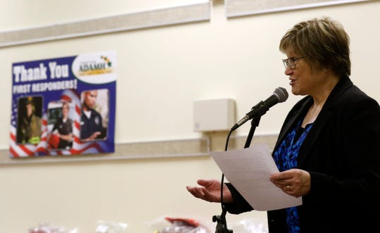 Rhonda Myers, executive director of Fairfield County ADAMH, speaks during ADAMH's First Responders Week of Appreciation Ceremony Friday, May 3, 2019, in Lancaster.