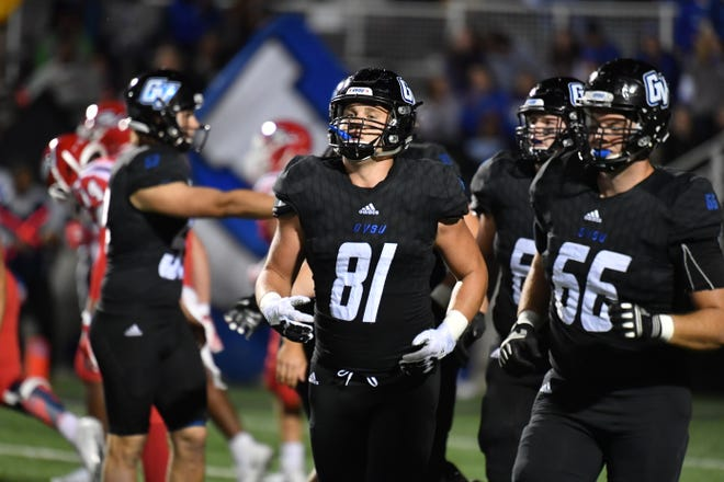 Howell graduate Pete Cender (81) of Grand Valley State University was chosen by Edmonton in the fourth round of the Canadian Football League draft.