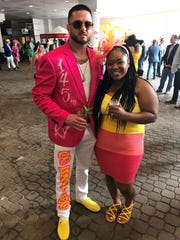 Matt and Jessica Thompson coordinated their outfits for the 145th Kentucky Oaks.