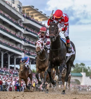 Serengeti Empress, with Jose Ortiz aboard, wins the 145 Running of the Kentucky Oaks.