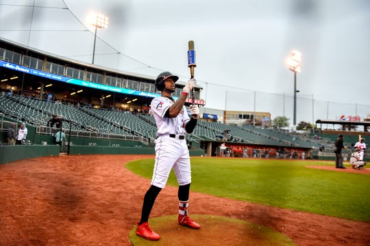 Lugnuts right fielder DJ Neal prepares to bat in the second inning during Lansing's game against the Wisconsin Timber Rattlers on Thursday, May 2, 2019, at Cooley Law School Stadium in Lansing.