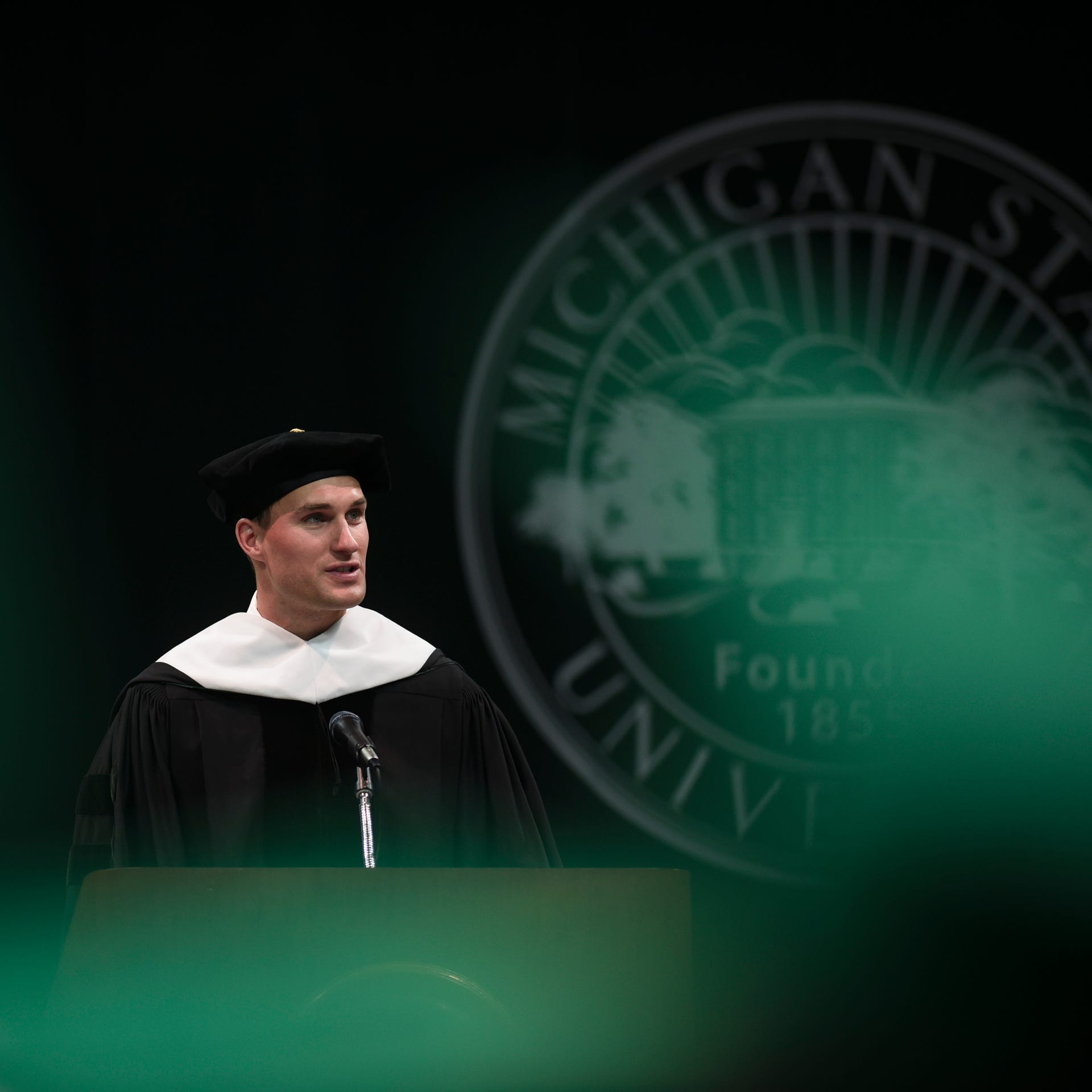 Kirk Cousins delivers keynote address at MSU commencement