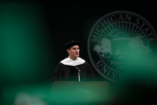 """It's who, not what that will count most for you, former Michigan State University QB Kirk Cousins said Friday, May 3, 2019, during spring convocation at his alma mater. ""Your joy in life moving forward will come far more from who you do life with than from what you do.""  Cousins was presented an honorary doctorate of humanities."