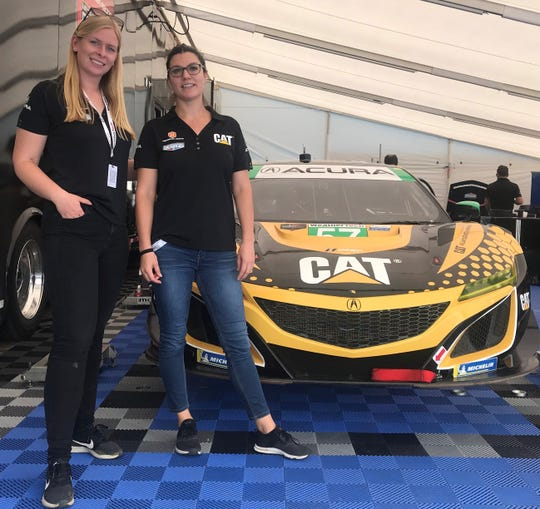 Christina Nielsen, left, and Katherine Legge make up an all-female race team under Heinricher Racing with Meyer-Shank Racing Acura, a team based in Pataskala, Ohio, at this weekend's Acura Sports Car Challenge at Mid-Ohio.