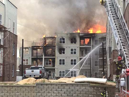 Fire at the South City development, the site of the former Foote Homes housing project near Downtown Memphis.