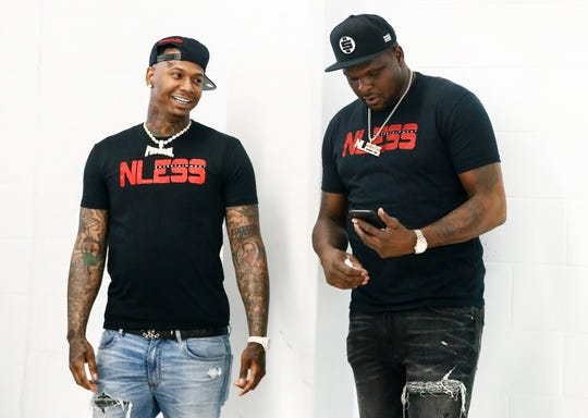 Former Memphis Grizzlies Zach Randolph (right) and local rapper MoneyBagg Yo (left) where at Airways Achievement Academy Friday afternoon  for a donation event. Randolph, along with his business partner Marcus Howell (not pictured) started N-Less Entertainment, a record label that represents MoneyBagg Yo.