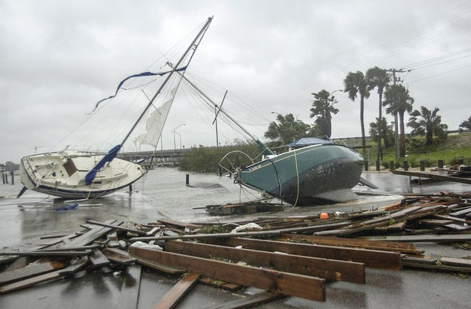Sail boats at the Fort Pierce Marina were pushed onto dry land when Hurricane Frances passed directly over St. Lucie County.