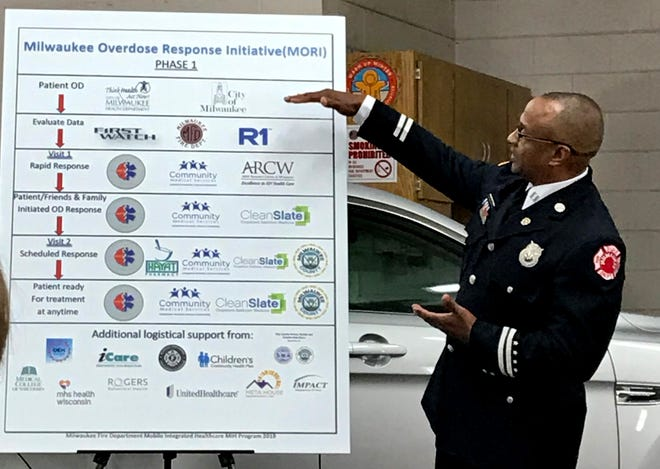 Milwaukee Fire Department Capt. Mike Wright explains the Milwaukee Overdose Response Initiative Friday at Station 31, 2400 S. 8th St.