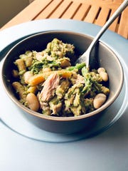 Asparagus, white beans and pesto all lend flavor to this tuna pasta dish.