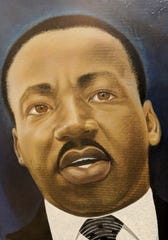 Fishoe portrait of Martin Luther King Jr., commissioned by Amos Harris.