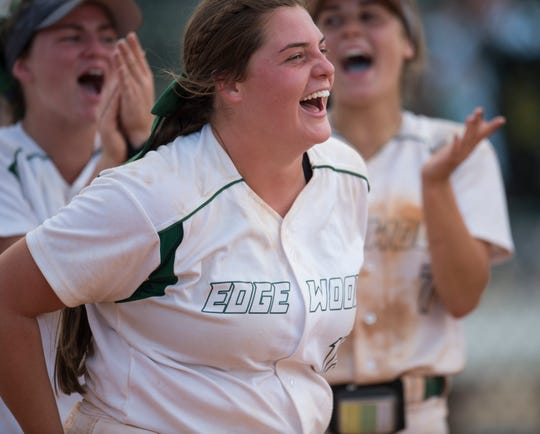 Edgewood's Mary Michael Burnham (15) reacts to being announced the tournament MVP during the AISA Class AA softball championship tournament at Lagoon Park in Montgomery, Ala., on Friday, May 3, 2019. Edgewood defeated South Choctaw 7-0.