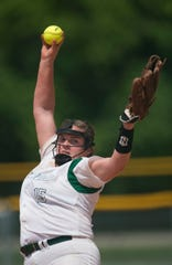 Edgewood's Mary Michael Burnham (15) pitches during the AISA Class AA softball championship tournament at Lagoon Park in Montgomery, Ala., on Friday, May 3, 2019. Edgewood defeated South Choctaw 7-0.