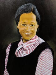 Fishoe portrait of Rosa Parks at the Alabama Department of Archives and History.