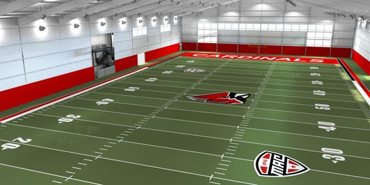 A rendering of the Ball State football indoor facility.