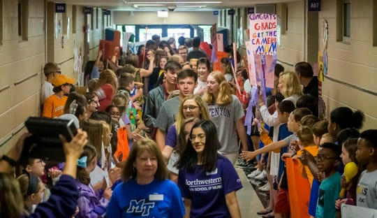 Senior Walk at Discovery School at Bellwood Friday, May 3, 2019.