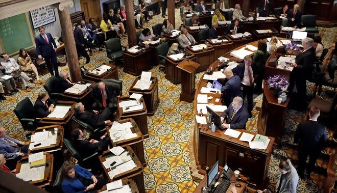 Members of the Senate debate legislation during a session Thursday, May 2, 2019, in Nashville, Tenn. (AP Photo/Mark Humphrey)