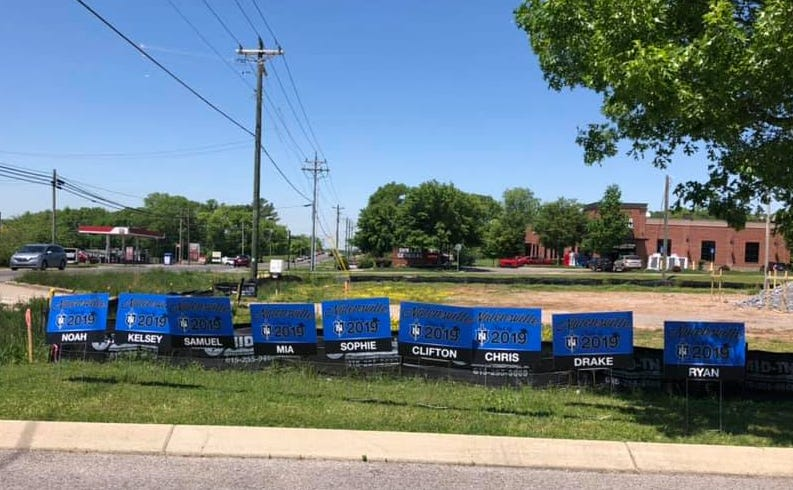 Nolensville Public Works mistakenly took up graduation signs from yards, where the signs were too close to the road.