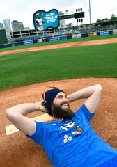 Tim Dillard clowns around on the mound, where normally he is very serious about the the game.Dillard is back with the Nashville Sounds where he has a legacy, and brings with him his ridiculously funny sense of humor and Twitter account Friday, May 3, 2019, in Nashville, Tenn.