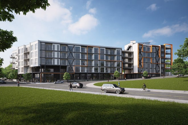 An architectural rendering of the 89-unit Bento Box Living development in Chestnut Hill. It will feature communal micro-unit residences and flexible lease terms.