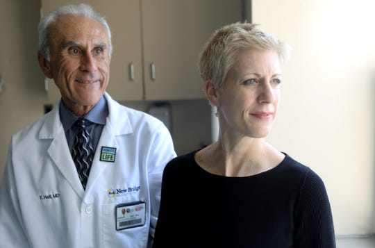 Psychiatrists Dr. Michelle Thorpe and Dr. Edward Hall pose for a photo at Bergen New Bridge Medical Center, in Paramus.  Thursday, May 2, 2019