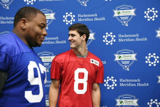 (from left) Dexter Lawrence II and Daniel Jones during New York Giants Rookie Minicamp at the Quest Diagnostics Training Center on Friday, May 3, 2019.