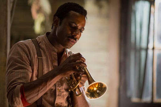 """This image released by Abramorama shows Gary Carr portraying jazz pioneer Charles """"Buddy"""" Bolden in a scene from """"Bolden,"""" in theaters on Friday, May 2, 2019."""