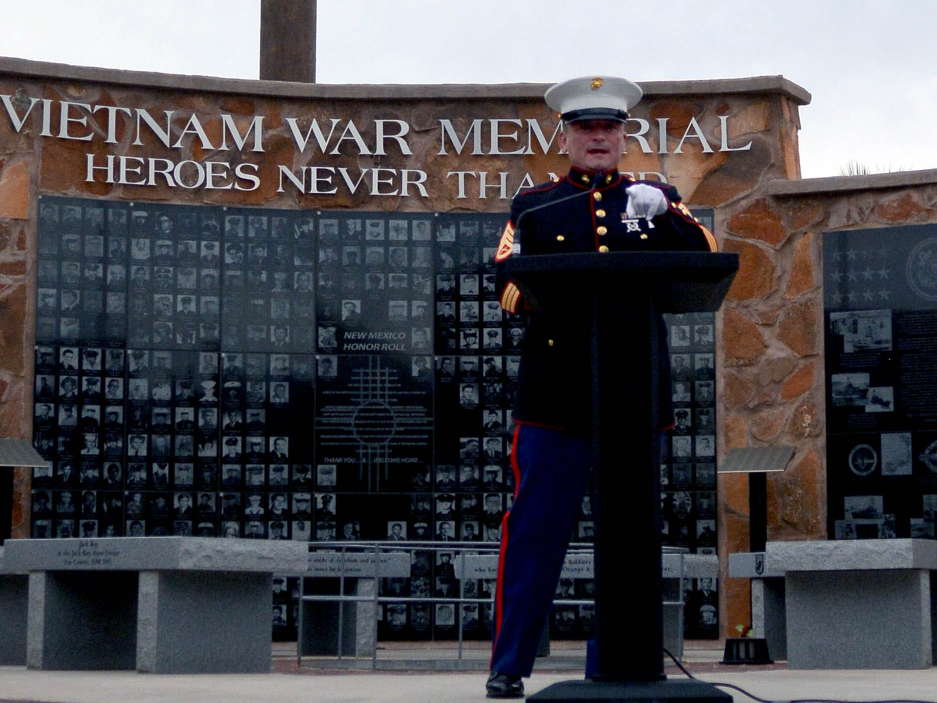 "United States Marine Corps veteran SSgt. Tim Chambers, known as The Saluting Marine, stopped in Las Cruces on Thursday, May 2, 2019, during his ""Salute Across America"" tour. He spoke in front of the Vietnam War Memorial at Veterans Memorial Park."