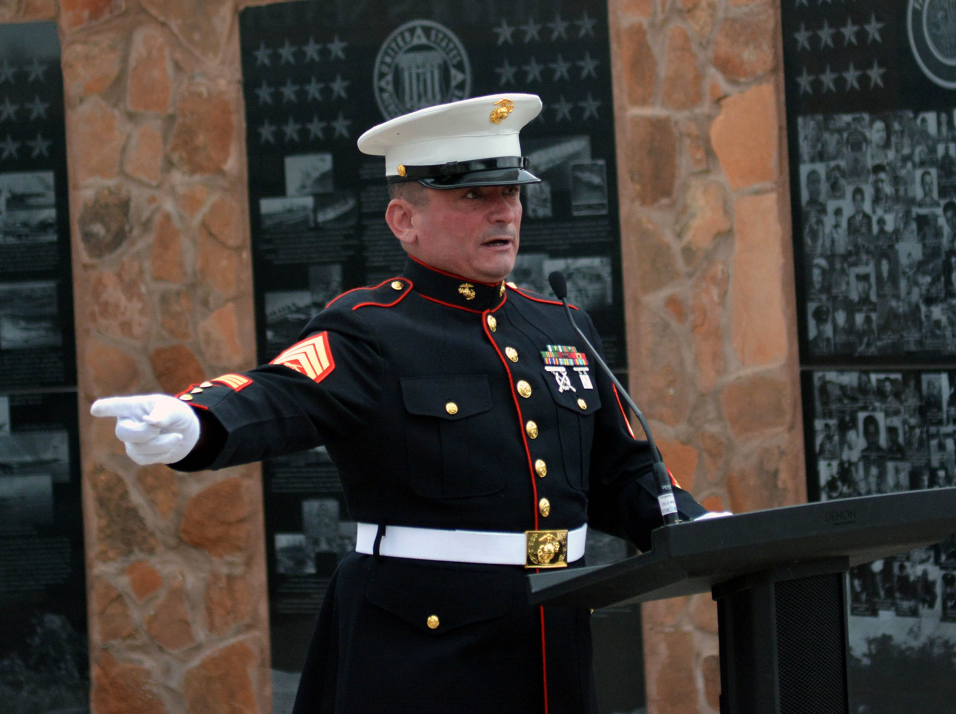 "United States Marine Corps veteran SSgt. Tim Chambers, known as The Saluting Marine, stopped in Las Cruces on Thursday, May 2, 2019, during his ""Salute Across America"" tour.  He gave a passionate speech as to why he undertook this mission and spoke about the rights of all veterans across America."