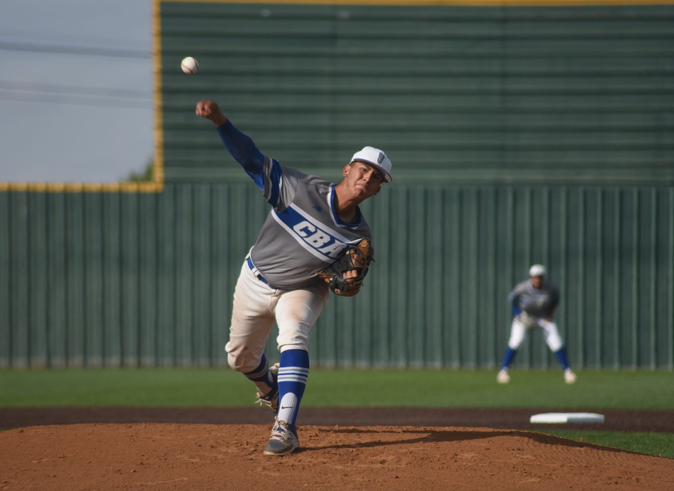 TJ Ruiz pitches against Hobbs on May 2. Carlsbad beat the Eagles, 8-1.