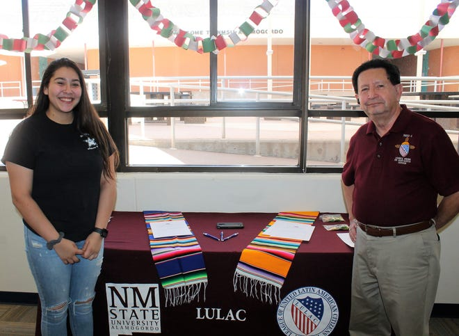 NMSU-A LULAC President Ariana Caridel and NMSU-A  Director of External Affairs and Development Dr. Juan Garcia at the LULAC NMSU-A Cinco de Mayo event Thursday.