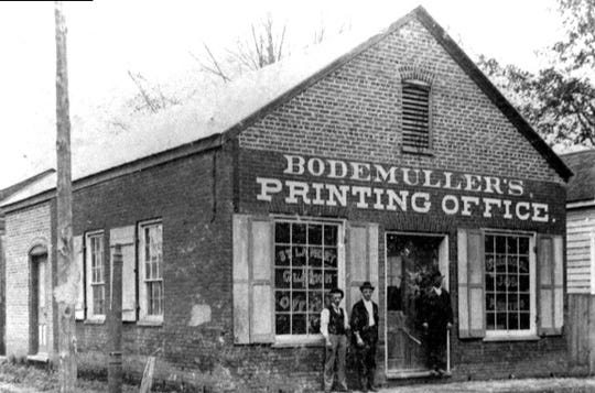 Bodemuller, the Printer office on Gibbs Corner during the 1890s. The building also housed the St. Landry Clarion Newspaper office for a number of years.