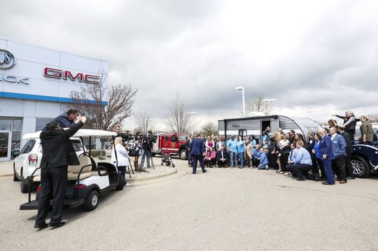 Members of the Schroeder family, Bergstrom Automotive and the Make a Wish Foundation pose Friday, May 3, 2019 at Bergstrom Chevrolet Buick GMC of Oshkosh in front of a new camper from gifted to Slayden Schroeder from Bergstrom and the Make A Wish Foundation. Slayden is affected by intractable epilepsy and because of his love for camping wanted a camper. Doug Raflik/USA TODAY NETWORK-Wisconsin