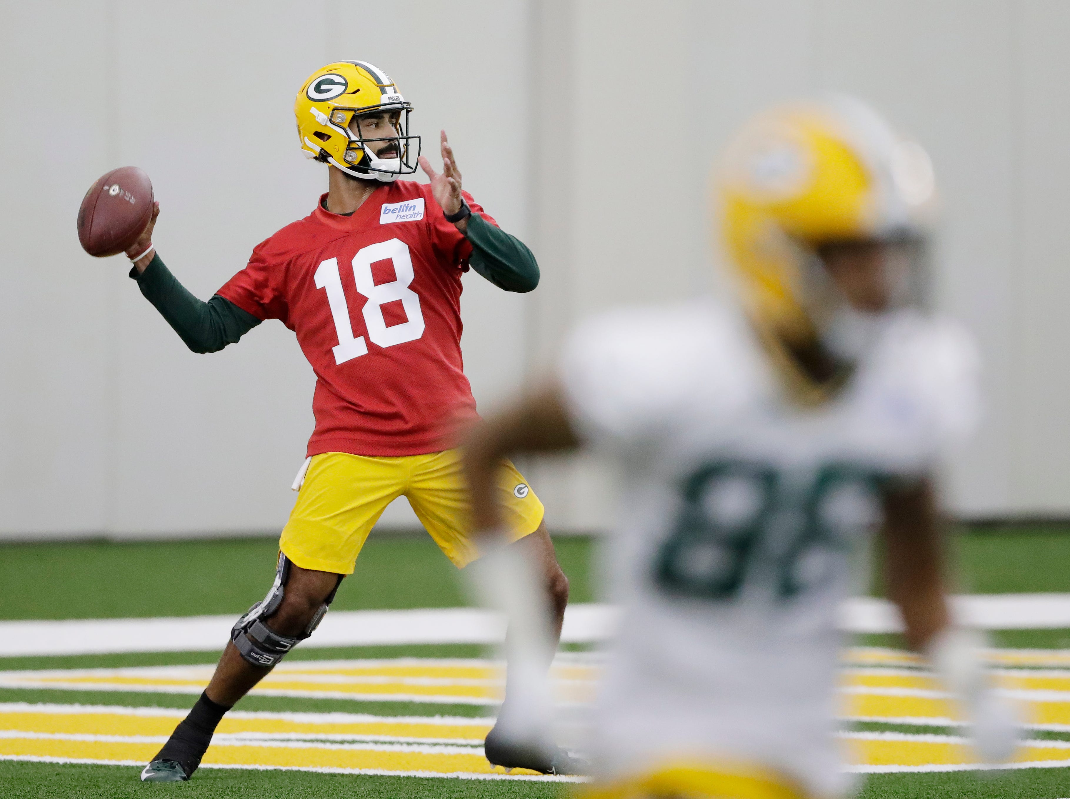 Green Bay Packers quarterback Manny Wilkins (18) during practice at rookie minicamp at the Don Hutson Center on Friday, May 3, 2019 in Ashwaubenon, Wis.Adam Wesley/USA TODAY NETWORK-Wis