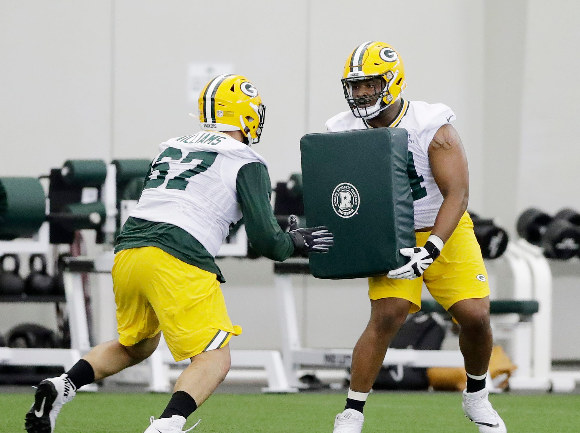 Green Bay Packers offensive lineman Elgton Jenkins (74) during practice at rookie minicamp at the Don Hutson Center on Friday, May 3, 2019 in Ashwaubenon, Wis.Adam Wesley/USA TODAY NETWORK-Wis