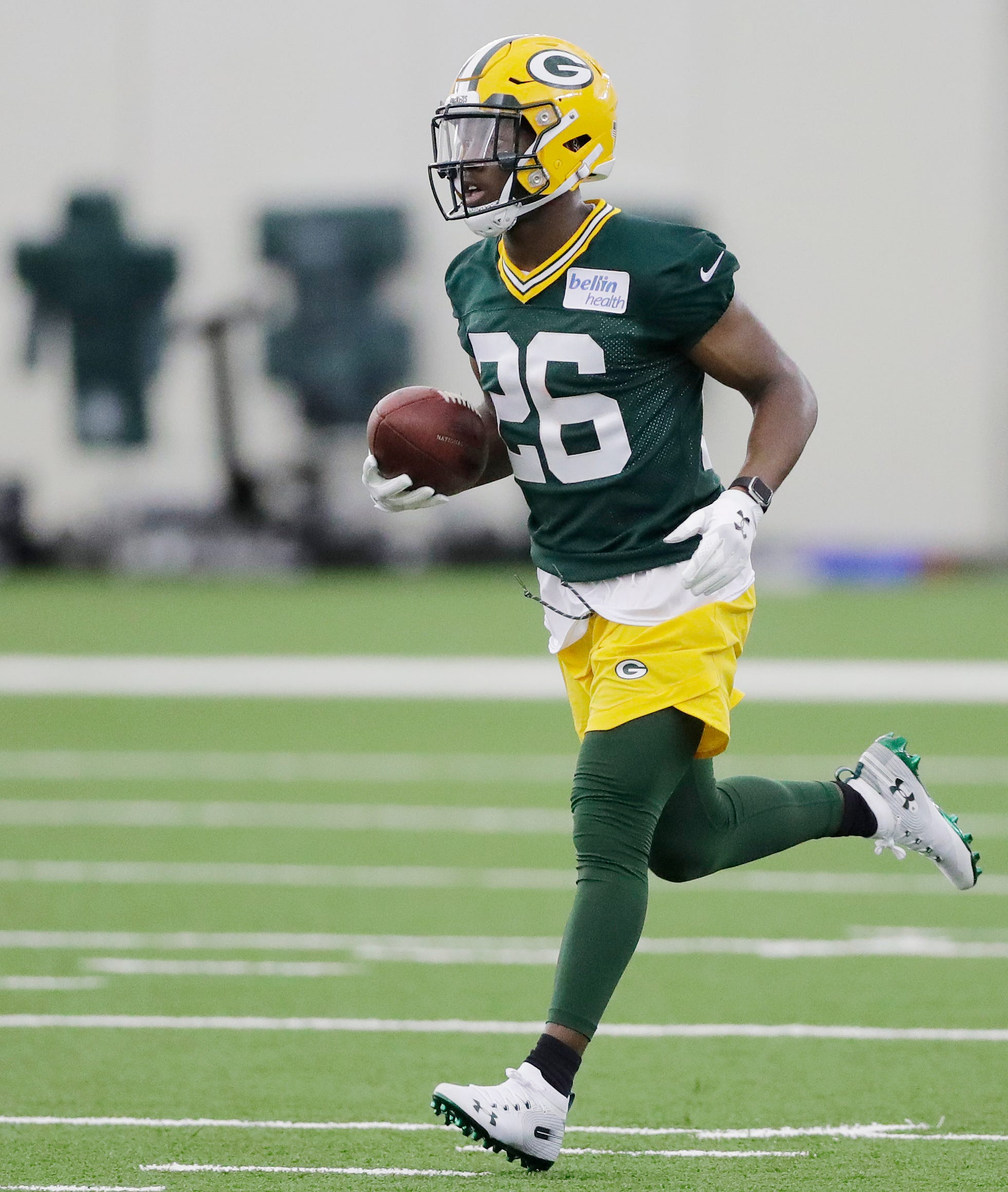 Green Bay Packers safety Darnell Savage (26) during practice at rookie minicamp at the Don Hutson Center on Friday, May 3, 2019 in Ashwaubenon, Wis. The Packers recently installed a new playing surface in the Don Hutson Center. Adam Wesley/USA TODAY NETWORK-Wis