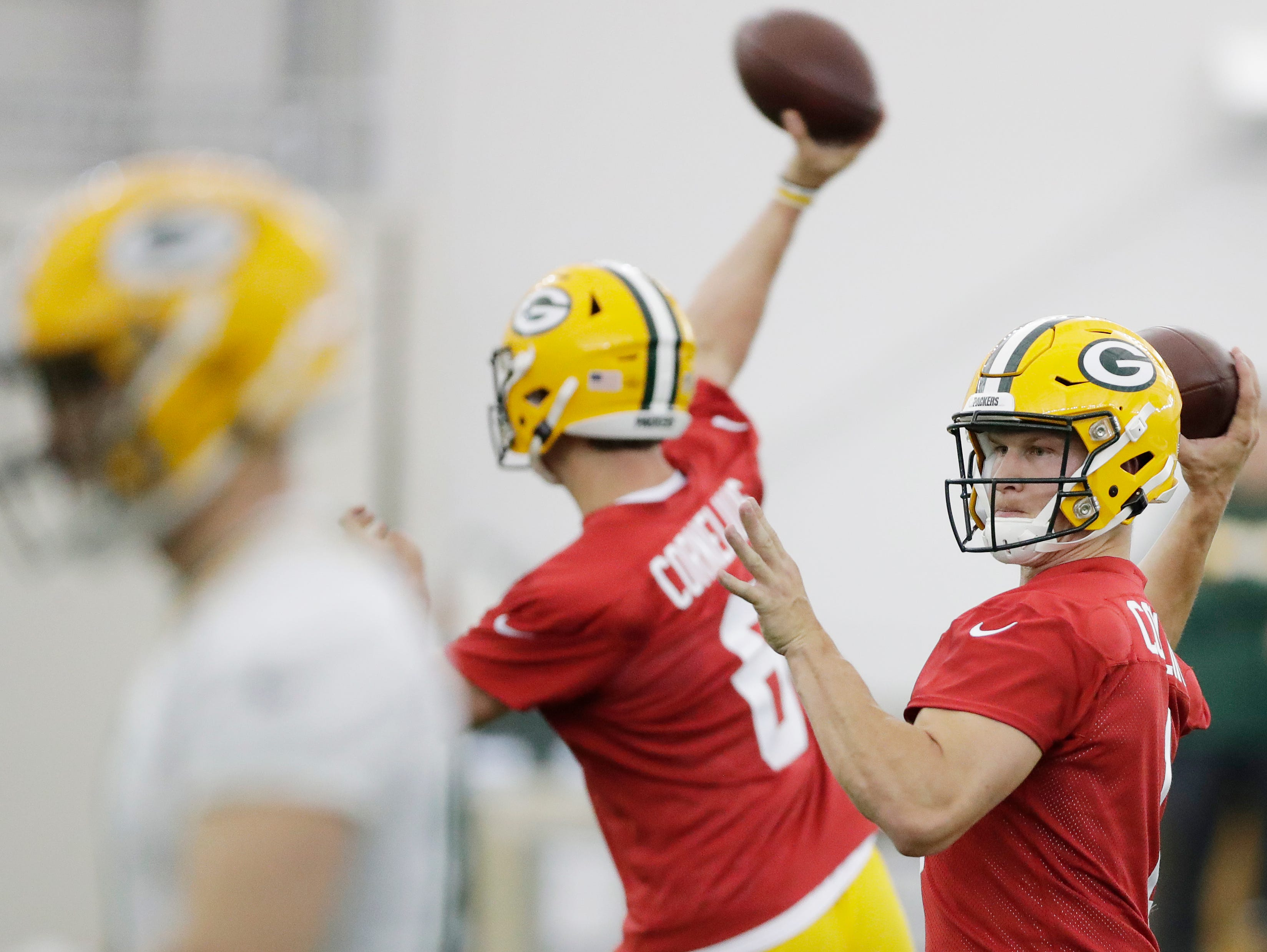Green Bay Packers quarterback CJ Collins (1) during practice at rookie minicamp at the Don Hutson Center on Friday, May 3, 2019 in Ashwaubenon, Wis.Adam Wesley/USA TODAY NETWORK-Wis