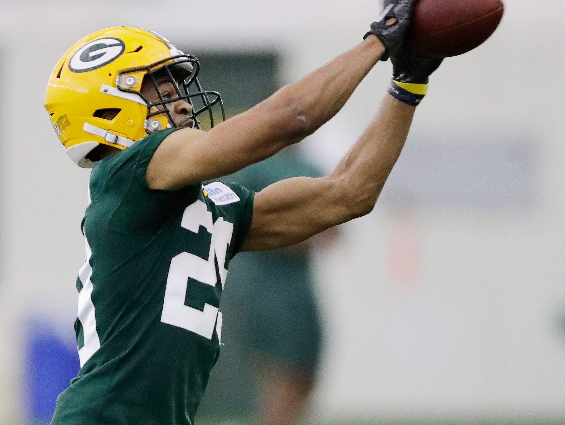 Green Bay Packers cornerback Ka'dar Hollman (29) during practice at rookie minicamp at the Don Hutson Center on Friday, May 3, 2019 in Ashwaubenon, Wis.Adam Wesley/USA TODAY NETWORK-Wis
