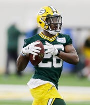 Green Bay Packers safety Darnell Savage (26) during practice at rookie minicamp at the Don Hutson Center on Friday, May 3, 2019 in Ashwaubenon, Wis.