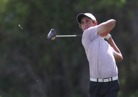 Willis Panzarello hits a drive on the 4th hole during the Desert Empire League boys golf individual finals at the Gary Player Signature Course, Westin Mission Hills Resort in Rancho Mirage, May 2, 2019.